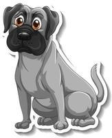 Aufkleberdesign mit einem isolierten Mopshund vektor