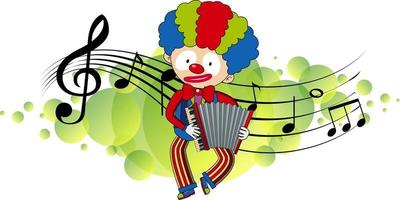 Zeichentrickfigur eines Clowns spielt Akkordeon mit musikalischen Melodiesymbolen vektor