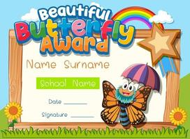 Zertifikatsvorlage mit schönem Schmetterlingspreis vektor