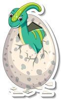 eine Stickervorlage mit Baby-Dinosaurier, der aus einem Ei schlüpft vektor