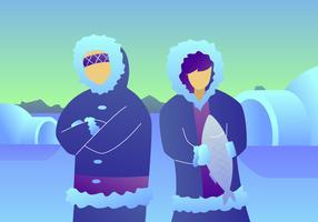 Ehrfürchtige Eskimos-Vektoren vektor