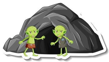 eine Aufklebervorlage mit einer grünen Kobold- oder Troll-Cartoon-Figur und einer Steinhöhle vektor