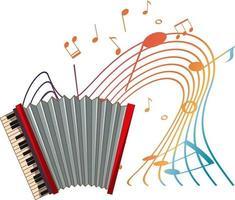 Akkordeonmusikinstrument mit Melodiesymbolen isoliert vektor