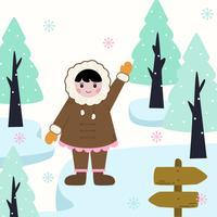 Eskimo Girl In Traditional Costumes vektor