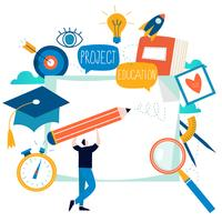 Bildung, Online-Trainingskurse, flache Vektorillustration der Fernunterricht