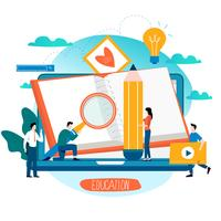 Utbildning, online kurser, distansutbildning platt vektor illustration