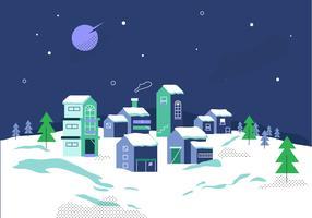 Winter Village Bakgrund På Natt Vector Illustration