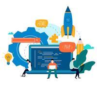 Kodierung, Programmierung, flaches Vektor-Illustrationsdesign der Anwendungsentwicklung
