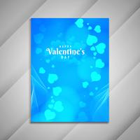 Blaue Broschürendesigndarstellung des abstrakten glücklichen Valentinstags