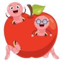 roter Apfel und süße Wurmkarikatur vektor