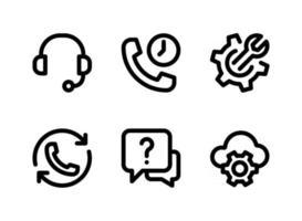 einfacher Satz von Hilfe- und Support-bezogenen Vektorliniensymbolen. enthält Symbole wie Headset, Anklopfen, Cloud-Konfiguration und mehr. vektor
