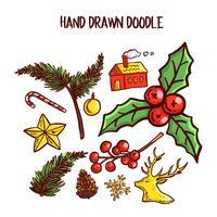 Jul Doodle Art Set. Vektor illustration