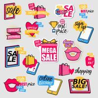 Färgrik försäljning klistermärke samling