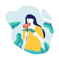 Flicka med blommor Vektor illustration