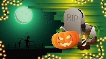Halloween-Hintergrund für Ihre Kreativität mit Nachtlandschaft, Grabstein und Kürbis-Jack vektor