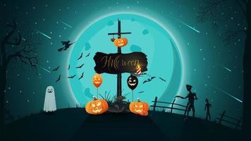 Halloween-Hintergrund für Ihre Kreativität mit Nachtlandschaft, Vollmond über dem Hügel, altes Holzschild mit angebrachtem Kürbis-Jack vektor