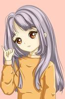 süßes und weiches Mädchen mit gelber Pullover-Design-Charakter-Cartoon-Illustration vektor