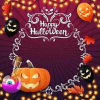 Happy Halloween, quadratische lila Grußpostkarte mit Vignette-Kreis-Rahmen für Ihren Text, Girlande, Hexenkessel und Kürbis Jack vektor