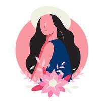 Mädchen mit Blumen-vektorabbildung vektor