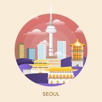 Flache moderne Seoul-Stadt-Vektor-Illustration