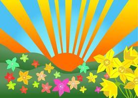 sonnige Frühlingslandschaft vektor