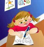 kleines Mädchen, das schreiben lernt vektor