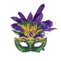 venezianische Karnevalsmaske aus einem Spritzer Aquarell, farbige Zeichnung, realistisch. Vektor-Illustration von Farben vektor