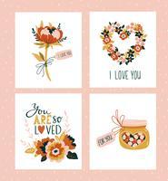 Vektor illustration. Alla hjärtans dag hälsningskort mallar med kärleksbokstäver.
