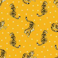 Vektor sömlösa mönster med tigrar och trianglar isolerade på den vita bakgrunden. Djurväv design.