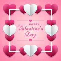 Alla hjärtans dag rosa affisch med hjärtor prydnad bakgrund