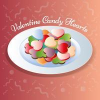 Herz formt süße Süßigkeit auf Platten-Illustration vektor