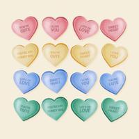 Vektor Hand gezeichneter Valentine Candy Hearts