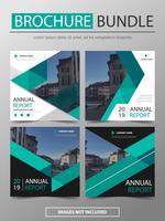 Broschüre-Broschüren-Fliegerschablonendesignsatz des grünen Vektorjahresbericht-Broschüre