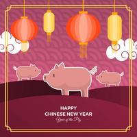 Flaches nettes chinesisches neues Jahr 2019 mit Schwein-Charakter-Vektor-Hintergrund-Illustration