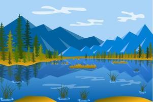 See im Gebirgslandschaftshintergrund im flachen Stil vektor
