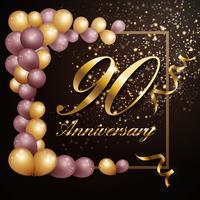 90-jähriges Jubiläumsfeierhintergrund-Fahnendesign mit Lu