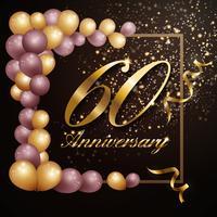 60-jähriges Jubiläumsfeierhintergrund-Fahnendesign mit Lu