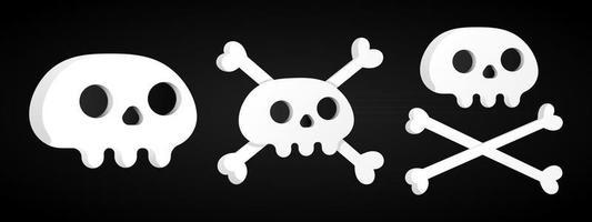 3 einfache, flache Design-Schädel mit gekreuzten Knochen-Set vektor