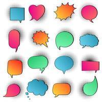 16 Sprechblasen flaches Farbverlaufsdesign auf Halbton keine Textliebe, ja, wie, lol, cool, wow, Boom, ja ... handgezeichnete Comic-Cartoon-Stil-Set-Vektor-Illustration isoliert auf weißem Hintergrund. vektor
