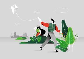 Leute, die einen Drachen an der Park-Vektor-Hintergrund-Illustration fliegen