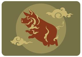 Abstrakt Pig Kinesisk Zodiac Vector