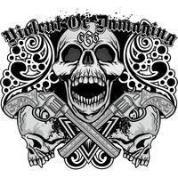 Gotisches Zeichen mit dem Schädel, Schmutzweinlesedesignt-shirts