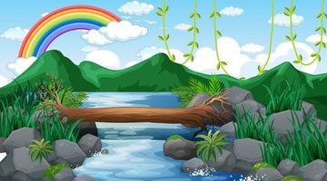 Bach fließt durch den Wald mit Berghintergrund und Regenbogen am Himmel vektor