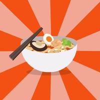 Nudelrestaurant mit weißem Schüsselvektor. Ramen japanische Nudelsuppen mit glänzendem Hintergrund. Rote Schüssel mit Nudelsuppe mit Stäbchen vektor