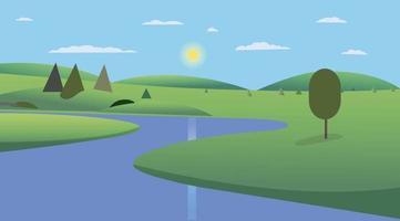 öffentlicher Park mit Bäumen, Hügeln und Himmelshintergrund Design.Landschaftsansicht Fluss mit Park- und Wolkenkratzervektor. schöne Feldlandschaft mit Morgendämmerung, grünen Hügeln, Teich und strahlend blauem Himmel vektor