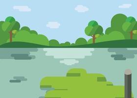Naturlandschaft Cartoon Design.schöner See mit Wald im flachen Stil.Fluss mit Hügeln, Bäumen, Wolken und Himmelshintergrund. vektor