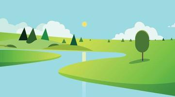 öffentlicher Park mit Bäumen und Himmelshintergrund design.Landschaftsansicht Fluss mit Park- und Wolkenkratzervektor. schöne Feldlandschaft mit Morgendämmerung, grünen Hügeln, Teich und strahlend blauem Himmel, Hintergrund vektor