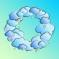 Retro-Illustration im Comic-Stil mit Wolken, Blitz und Regentropfen vektor