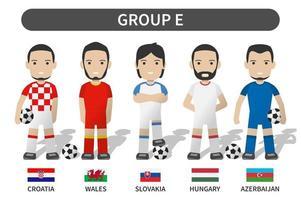 Auslosung der Qualifikation zum Fußball-Europapokal 2020 und 2021. Gruppe e. Fußballspieler mit Trikot-Trikotuniform und Nationalflagge. flaches Design der Zeichentrickfigur. weißer themahintergrund. Vektor. vektor