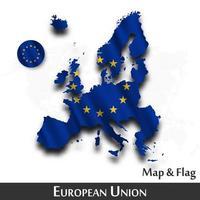 Karte der Europäischen Union und Flagge eu. winkendes Textildesign. Punkt Weltkarte Hintergrund. Vektor